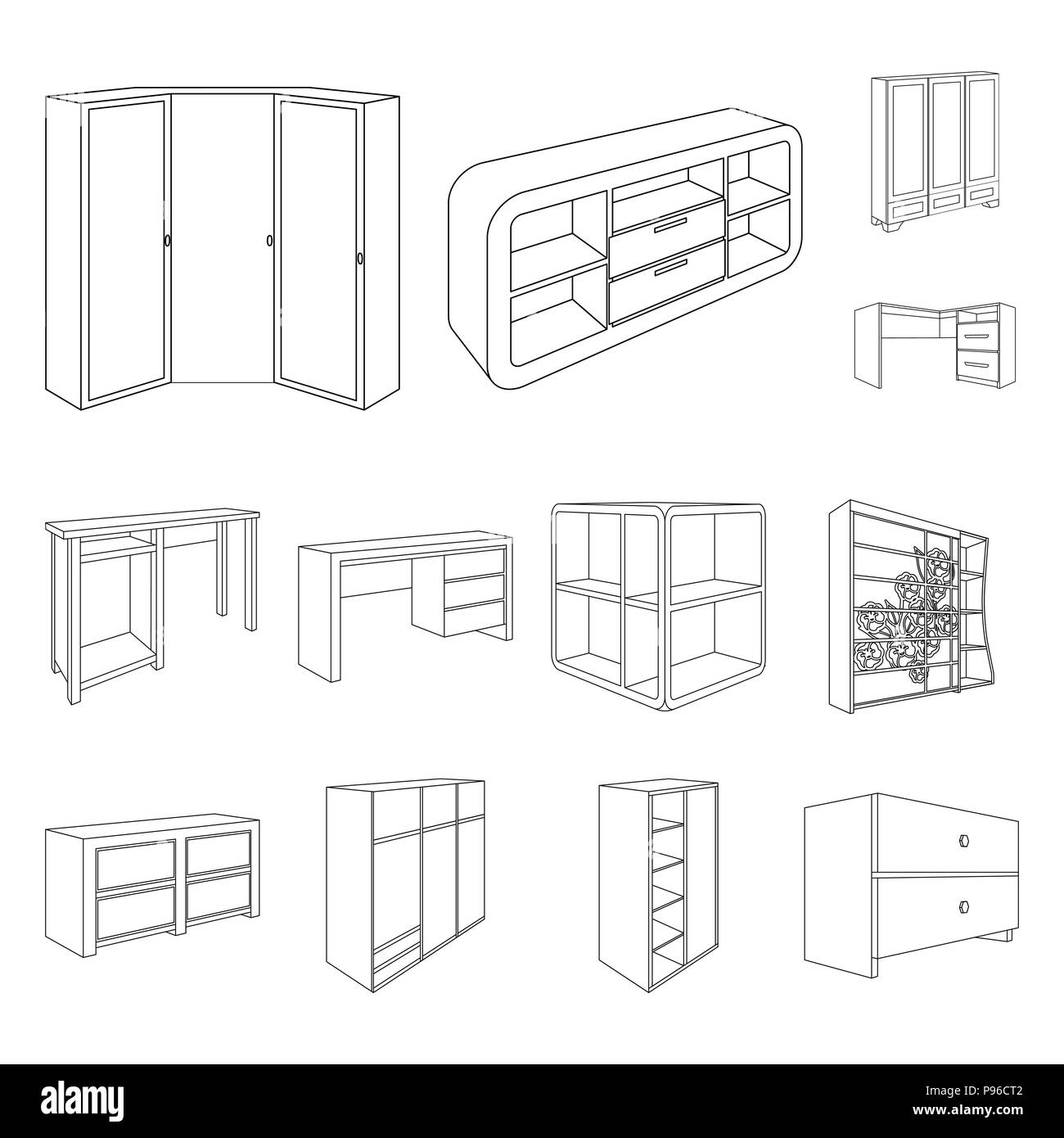 Vector Isometric Rooms Icon Stock Vector: Bedroom Furniture Outline Icons In Set Collection For