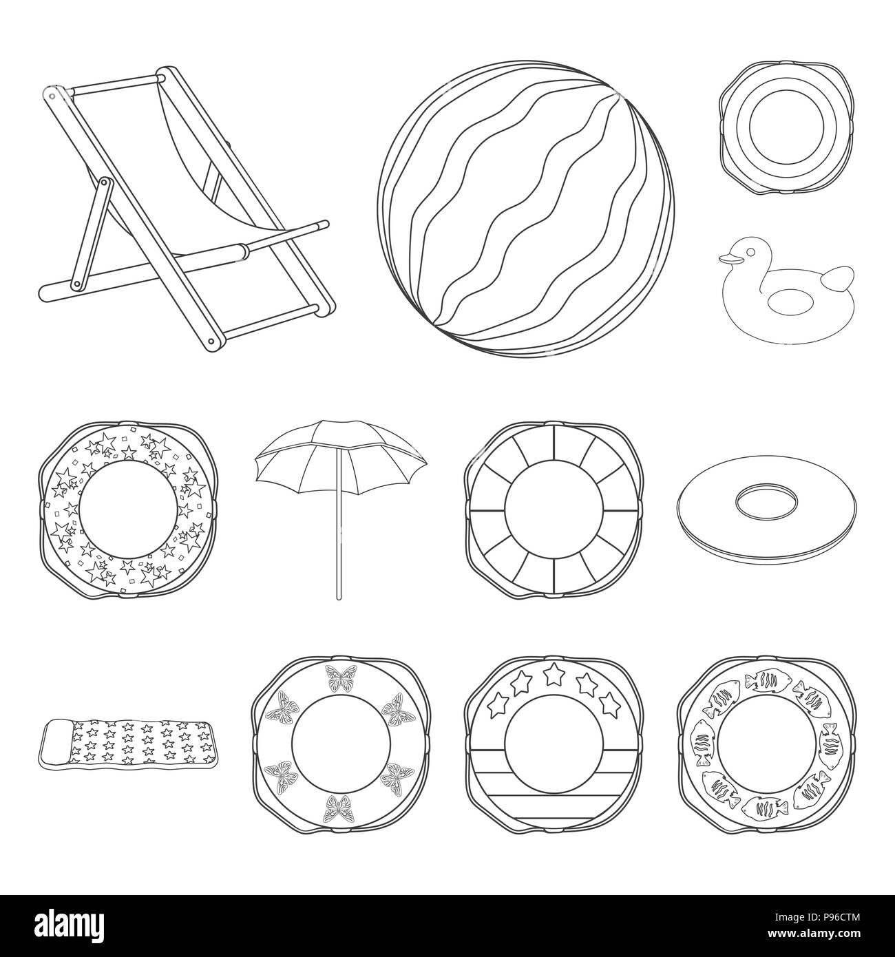 Multicolored Swimming Circle Outline Icons In Set Collection For
