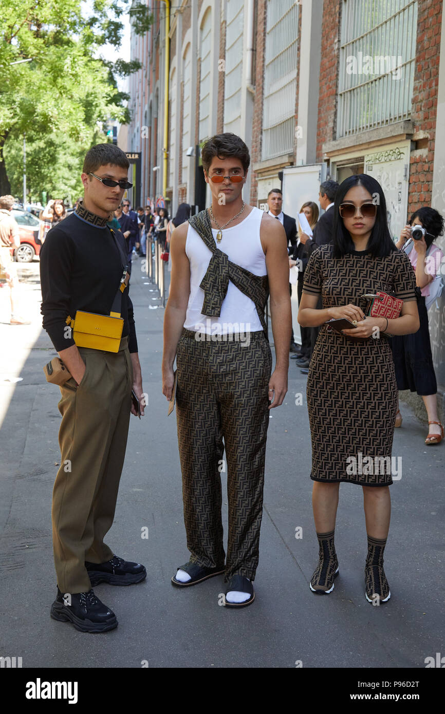 Milan June 18 Men And Woman With Fendi Outfits Before Fendi