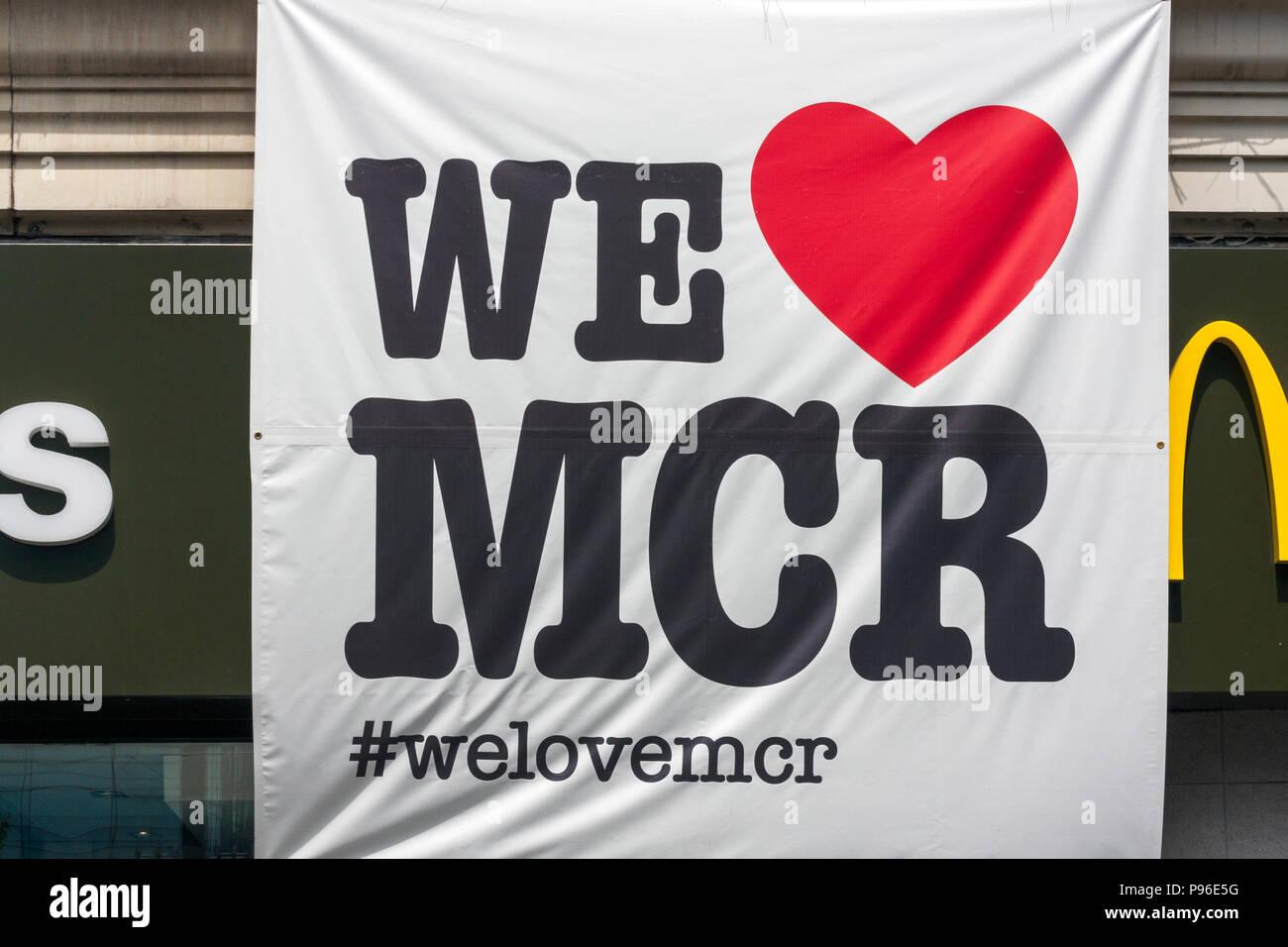 We Love MCR Banner - Stock Image