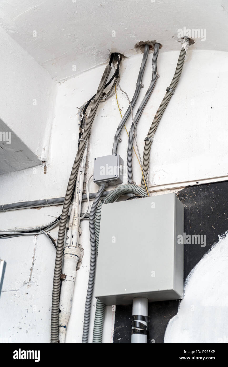 Urban Electrical Wire Stock Photos Wiring A Doorbell With Telephone Wires Various Cables And Communication Box Image
