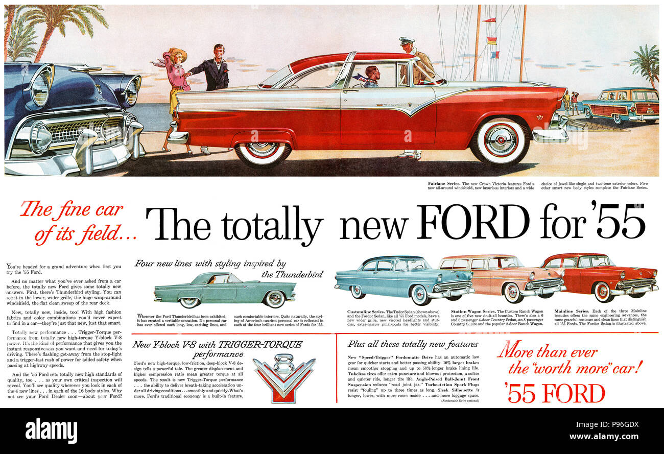 1955 Ford Fairlane Stock Photos Images 1954 Crown Victoria Us Advertisement For The Range Of Automobiles Image