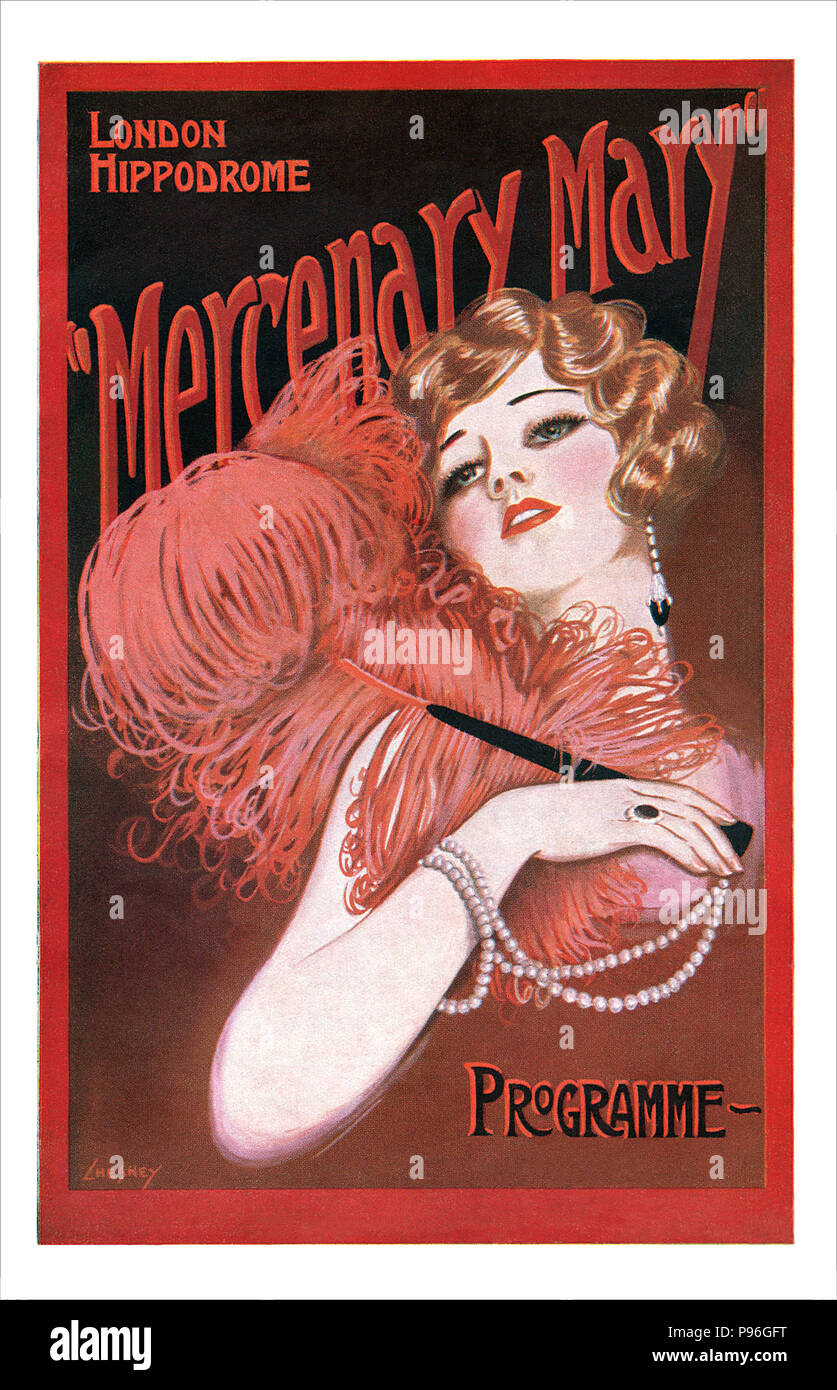 Front cover of a programme for the 1925 production of the musical Mercenary Mary at the London Hippodrome. Illustrated by Paul Chesney. Book and lyrics by William B. Friedlander and Isabel Leighton, music by Con Conrad and William B. Friedlander. - Stock Image