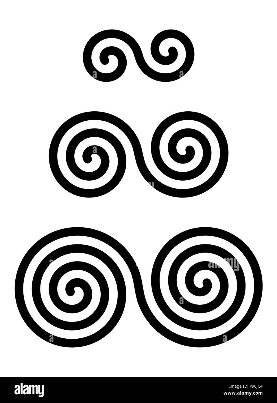 Three interlocked double spirals over white. Combined spirals with two, three and four turns. Motifs of twisted and connected spirals. - Stock Image