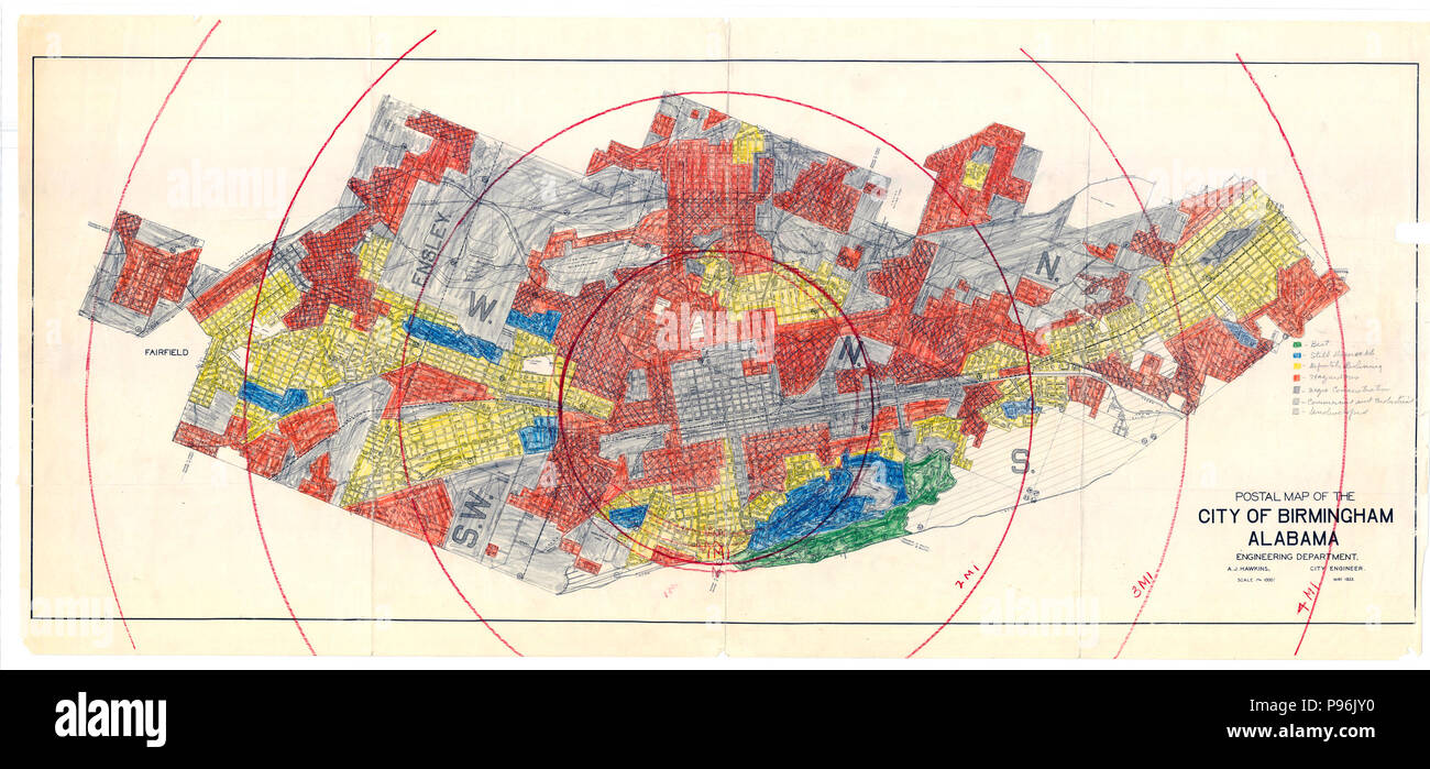 Image of: Redline Map For Birmingham Alabama 1933 1939 Home Owners Loan Corporation Stock Photo Alamy