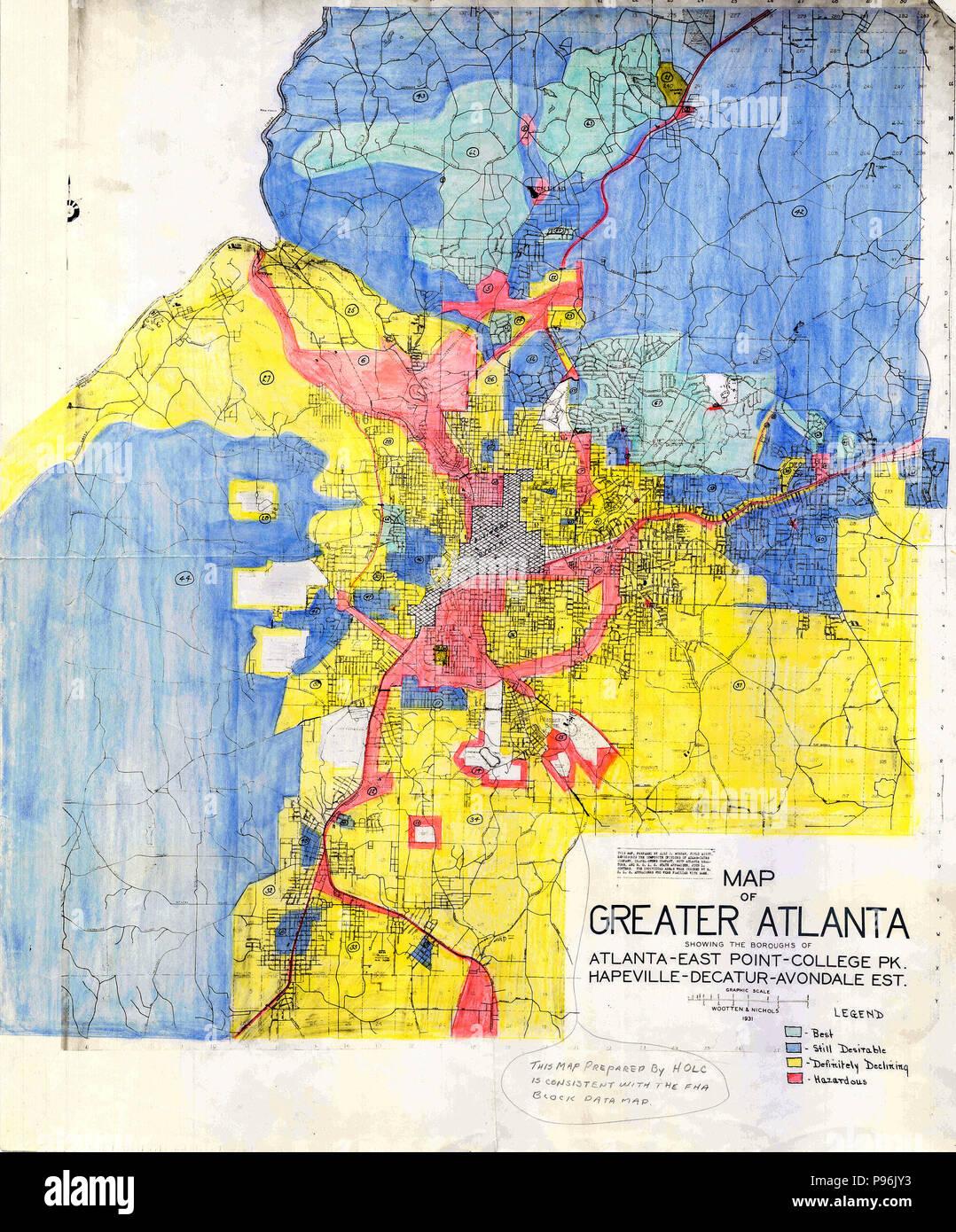 Redline Map For Greater Atlanta Georgia 1930s Stock Photo