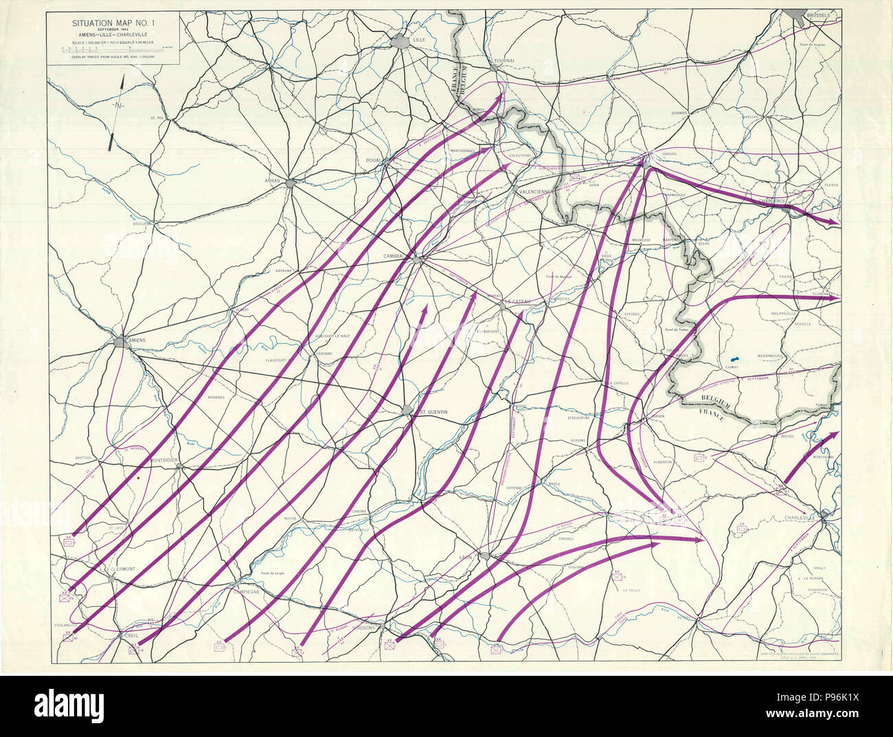France World War Two Map - Situation Map No. 1 Amiens ...