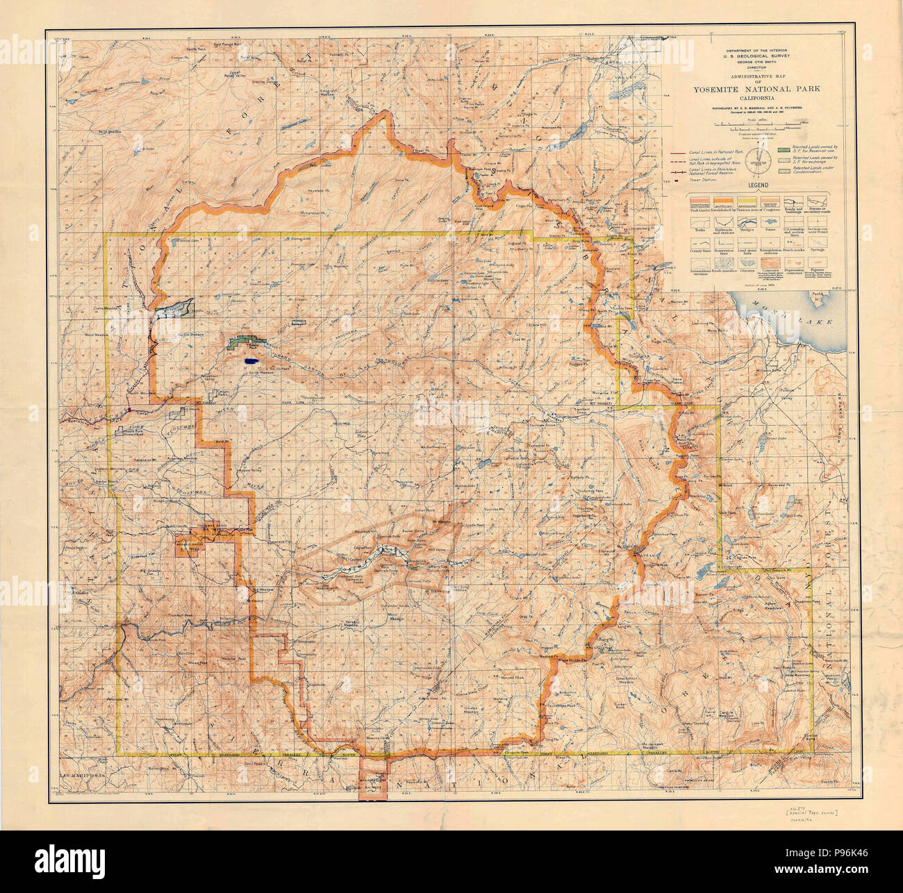 Topographic Map Of Yosemite National Park And Vicinity 1909 Stock