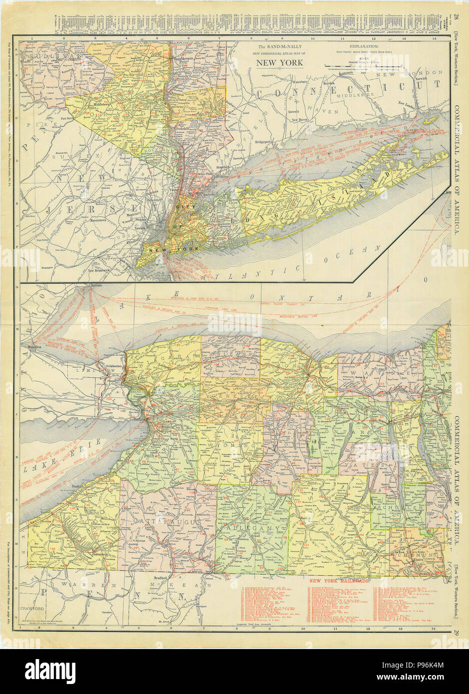 Map Of Southern New York.Western And Southern New York Long Island 1913 Stock Photo