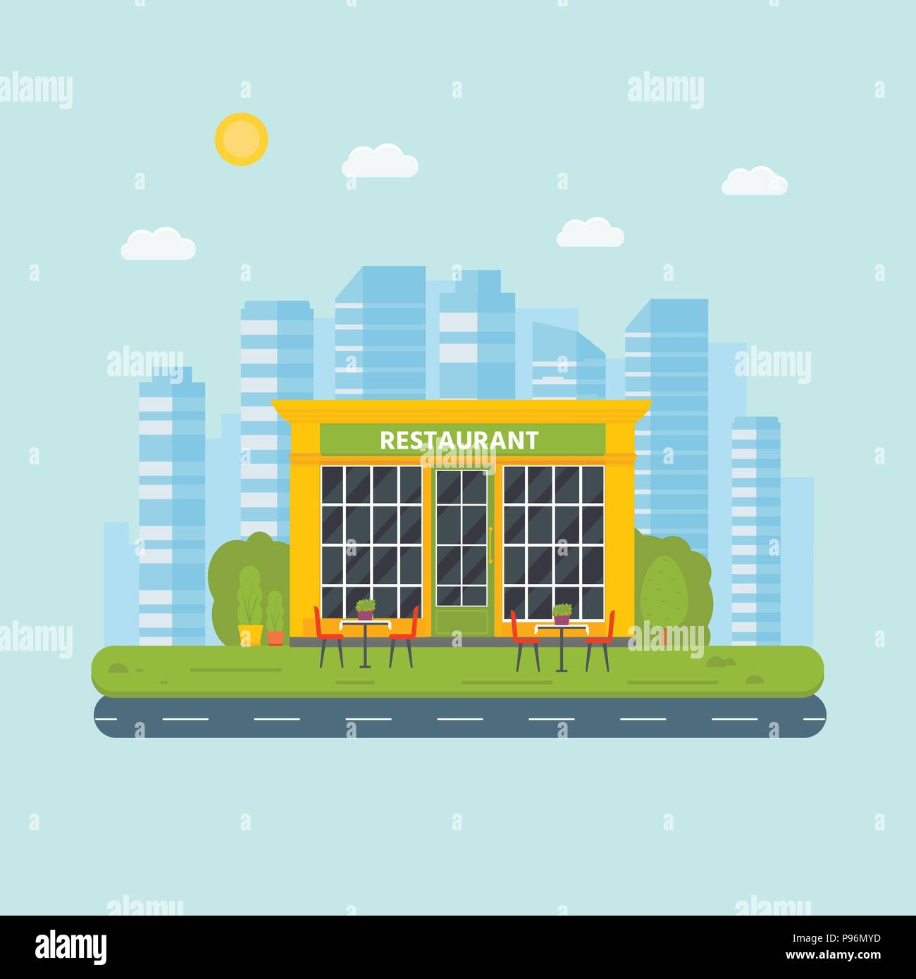Vector Flat Design Restaurant Exterior Shop Facade Store Front Window Buildings Icon On City Background Stock Vector Image Art Alamy