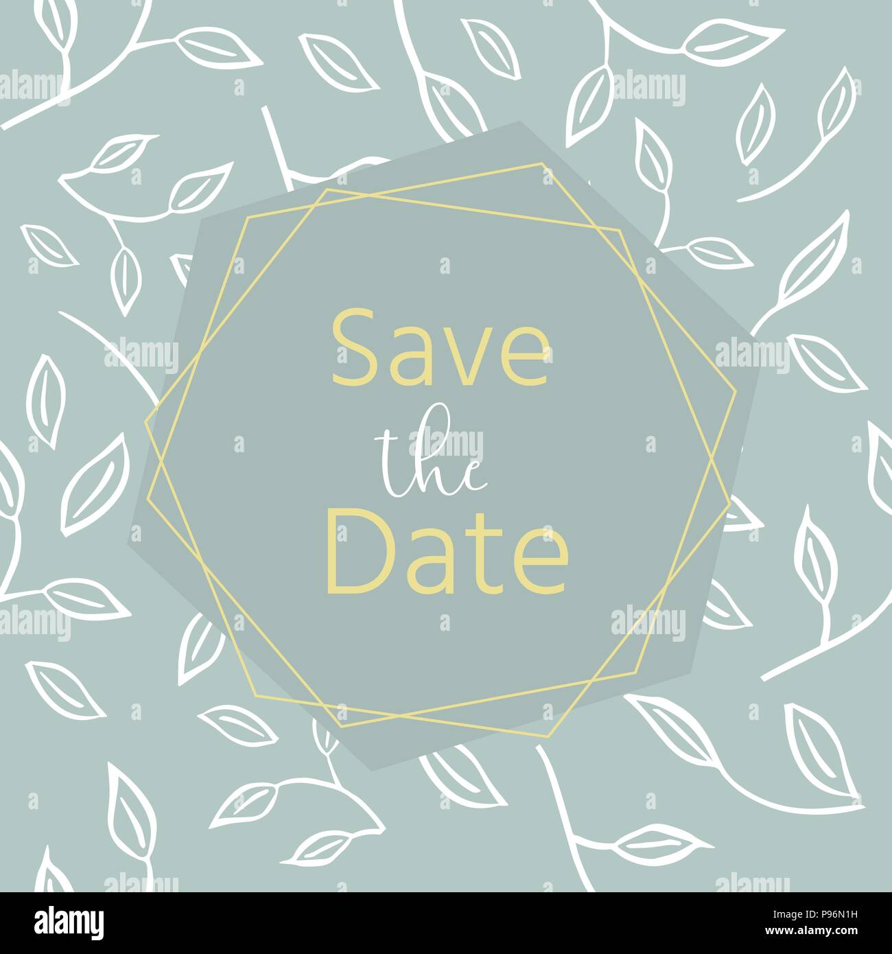 wedding invitation with floral tropical leaves wreath geometrical