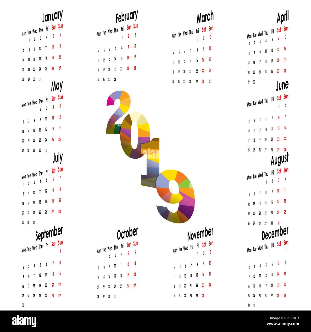 2019 calendar templatestarts mondayyearly calendar vector design stationery templatevector illustration