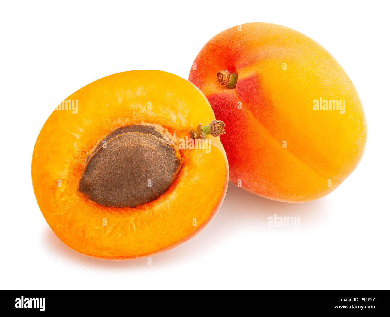sliced apricot path isolated - Stock Image