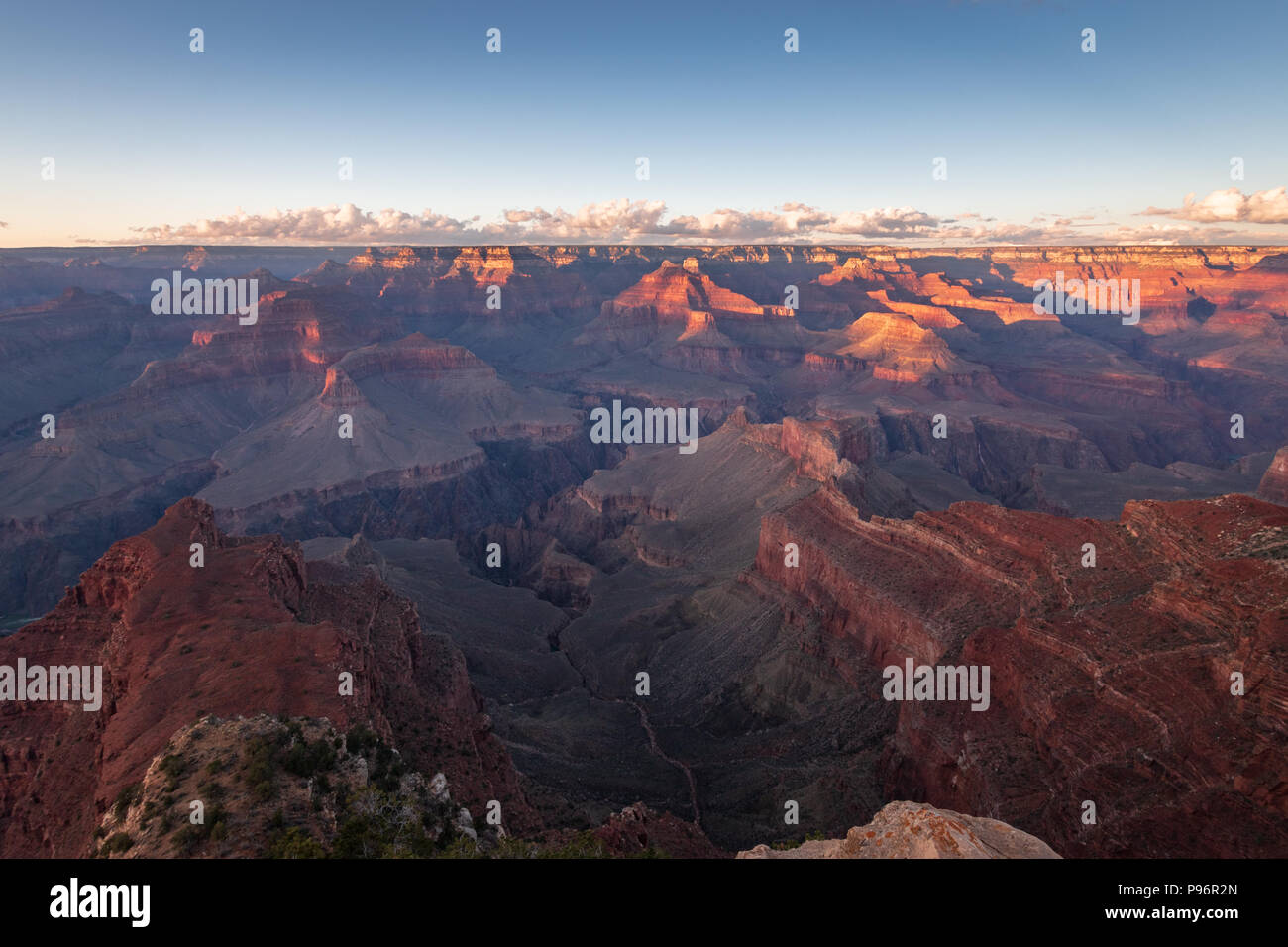 Sunset at Grand Canyon Mohave Point on a sunny evening in autumn - Stock Image