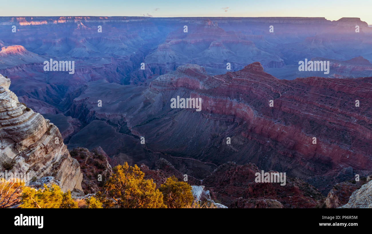 Sunrise at Grand Canyon Mather Point, Arizona on a sunny morning in fall Stock Photo