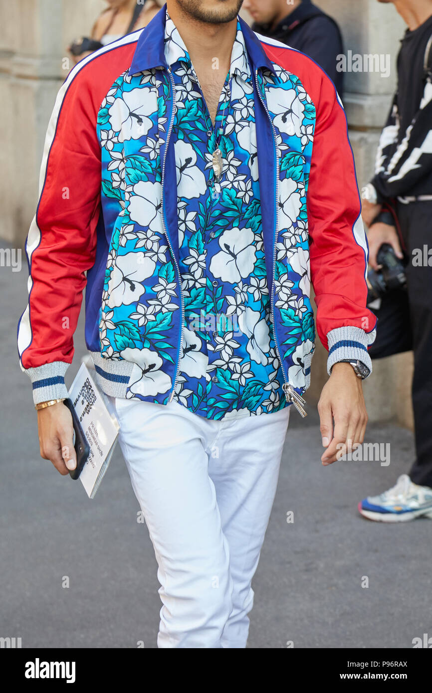 Milan June 17 Man With Blue Floral Shirt And Bomber Jacket With