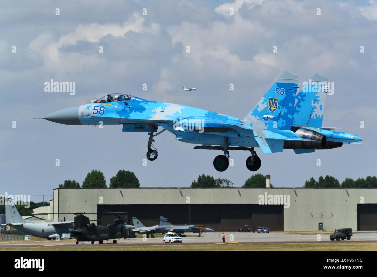 A Ukrainian Sukhoi SU-27 Flanker landing at the Royal International Air Tattoo 2018 at RAF Fairford, UK - Stock Image