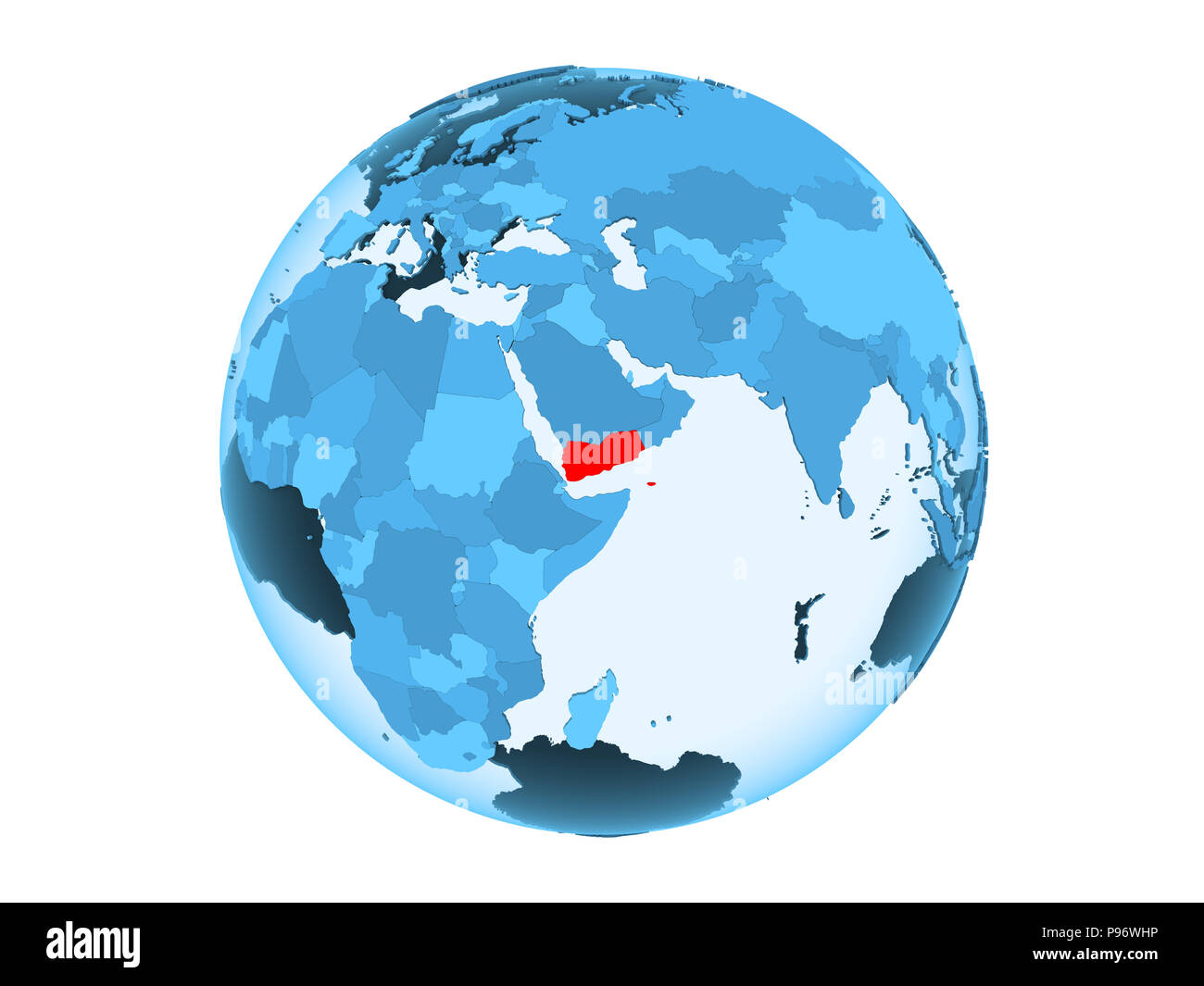 Yemen highlighted in red on blue political globe with transparent oceans. 3D illustration isolated on white background. - Stock Image