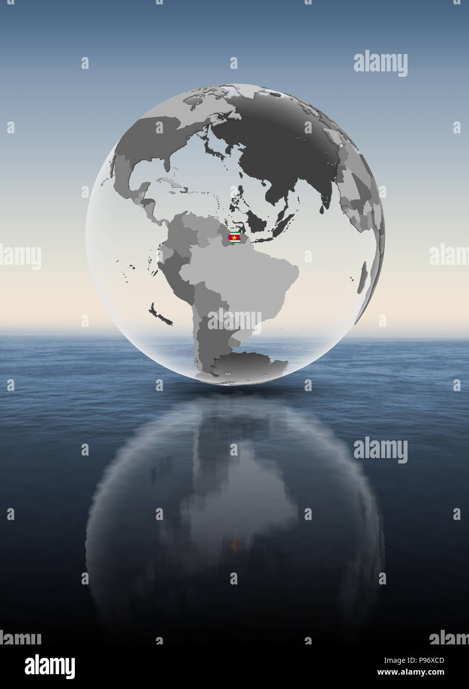 Suriname with flag on translucent globe above water. 3D illustration. - Stock Image