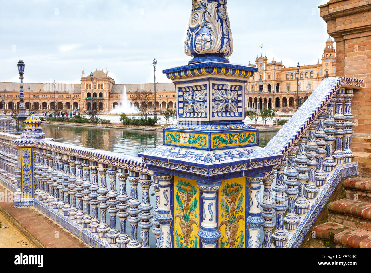 Balustrade on Plaza de Espana (Spain Square) in Seville, Andalusia, Spain.  Decorated with mixing elements of the Renaissance Revival and Moorish Revi - Stock Image
