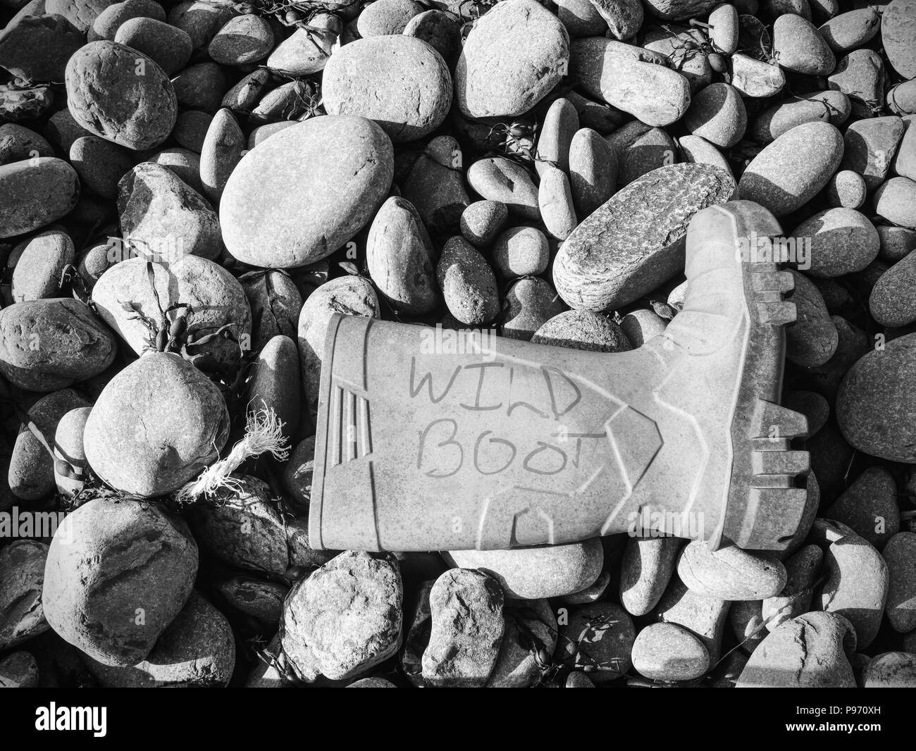 Dangerous garbage ejected from the sea on remote beaches. Environmental contamination with toxic mess. Stock Photo
