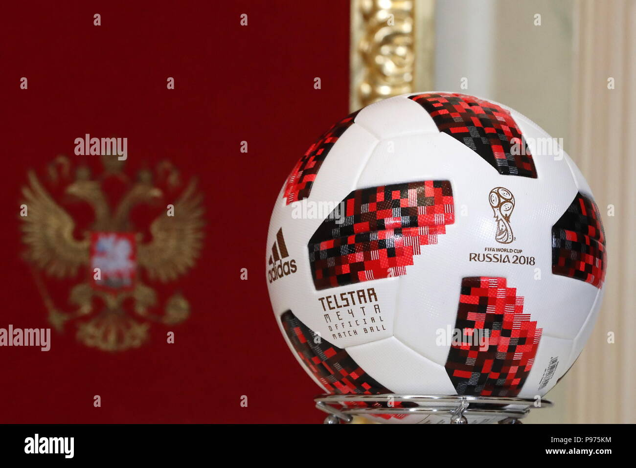 Moscow, Russia. 15th July, 2018. MOSCOW, RUSSIA - JULY 15, 2018: A Telstar Mechta, the official match ball of the 2018 FIFA World Cup knockout stage, seen during a handover ceremony at the Moscow Kremlin. Mikhail Metzel/TASS Credit: ITAR-TASS News Agency/Alamy Live News Credit: ITAR-TASS News Agency/Alamy Live News - Stock Image