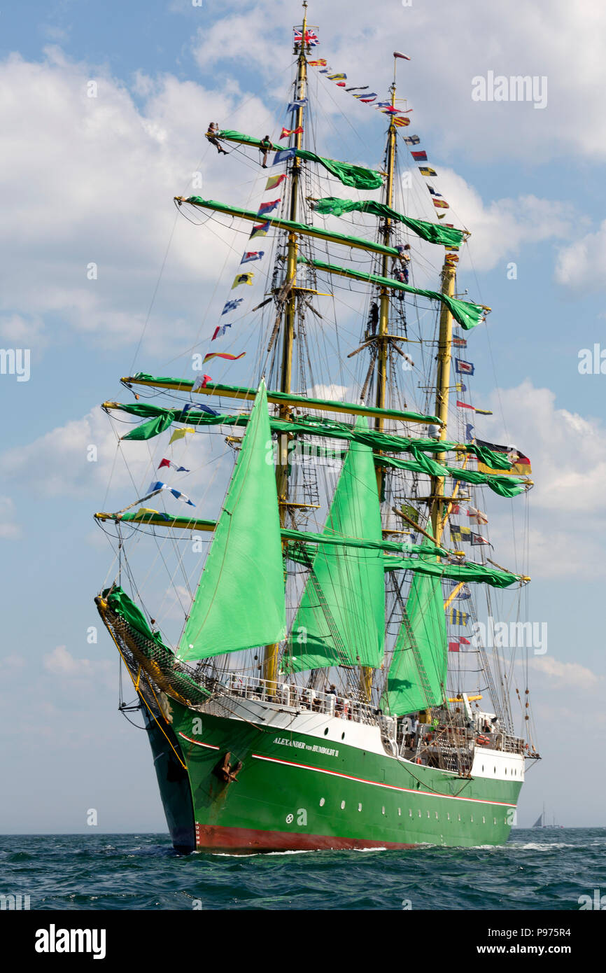 Sunderland, UK. 14th July 2018. The Alexander Humboldt II, a German ship, on the North Sea at the beginning of the first leg of the 2018 Tall Ships Race, to Ebsjerg in Denmark. More than 50 tall ships were docked in the Port of Sunderland, in north-east England, from 11 to 14 July 2018. Credit: Stuart Forster/Alamy Live News - Stock Image