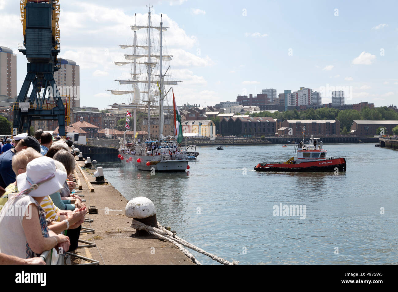 Sunderland, UK. 14th July 2018. The Tarangini, an Indian ship, departing the Port of Sunderland at the beginning of the first leg of the 2018 Tall Ships Race, to Ebsjerg in Denmark. More than 50 tall ships were docked in the Port of Sunderland, in north-east England, from 11 to 14 July 2018. Credit: Stuart Forster/Alamy Live News - Stock Image