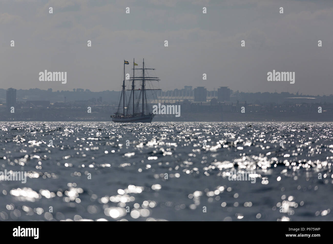 Sunderland, UK. 14th July 2018. The Vega Gambleby, a Swedish ship, on the North Sea at the beginning of the first leg of the 2018 Tall Ships Race, to Ebsjerg in Denmark. More than 50 tall ships were docked in the Port of Sunderland, in north-east England, from 11 to 14 July 2018. Credit: Stuart Forster/Alamy Live News - Stock Image