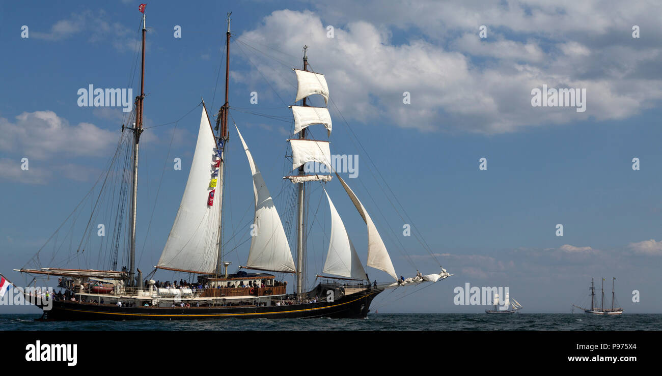 Sunderland, UK. 14th July 2018. The Gulden Leeuw, a Dutch ship, on the North Sea at the beginning of the first leg of the 2018 Tall Ships Race, to Ebsjerg in Denmark. More than 50 tall ships were docked in the Port of Sunderland, in north-east England, from 11 to 14 July 2018. Credit: Stuart Forster/Alamy Live News - Stock Image
