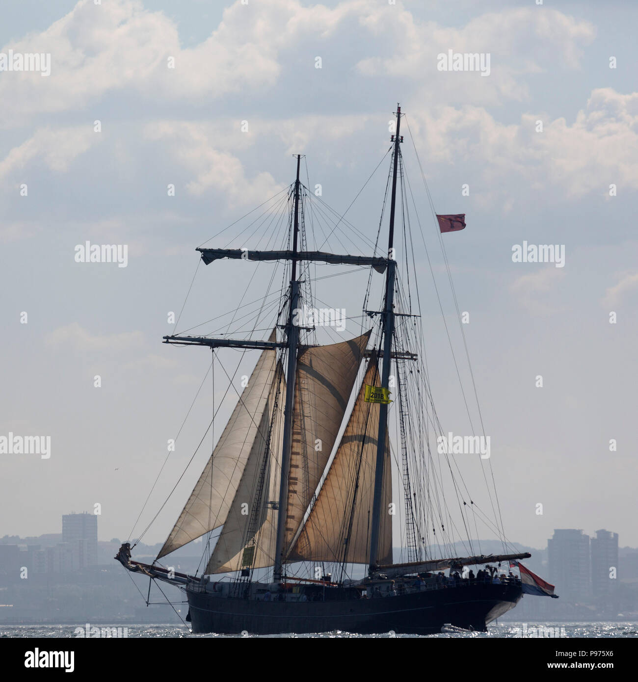 Sunderland, UK. 14th July 2018. The Wylde Swan, a Dutch ship, on the North Sea, taking people for a cruise before the beginning of the first leg of the 2018 Tall Ships Race, to Ebsjerg in Denmark. More than 50 tall ships were docked in the Port of Sunderland, in north-east England, from 11 to 14 July 2018. Credit: Stuart Forster/Alamy Live News - Stock Image