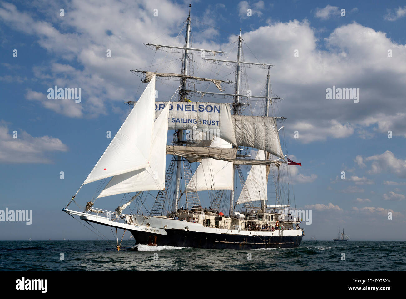 Sunderland, UK. 14th July 2018. The Lord Nelson, a British ship, on the North Sea at the beginning of the first leg of the 2018 Tall Ships Race, to Ebsjerg in Denmark. More than 50 tall ships were docked in the Port of Sunderland, in north-east England, from 11 to 14 July 2018. Credit: Stuart Forster/Alamy Live News - Stock Image