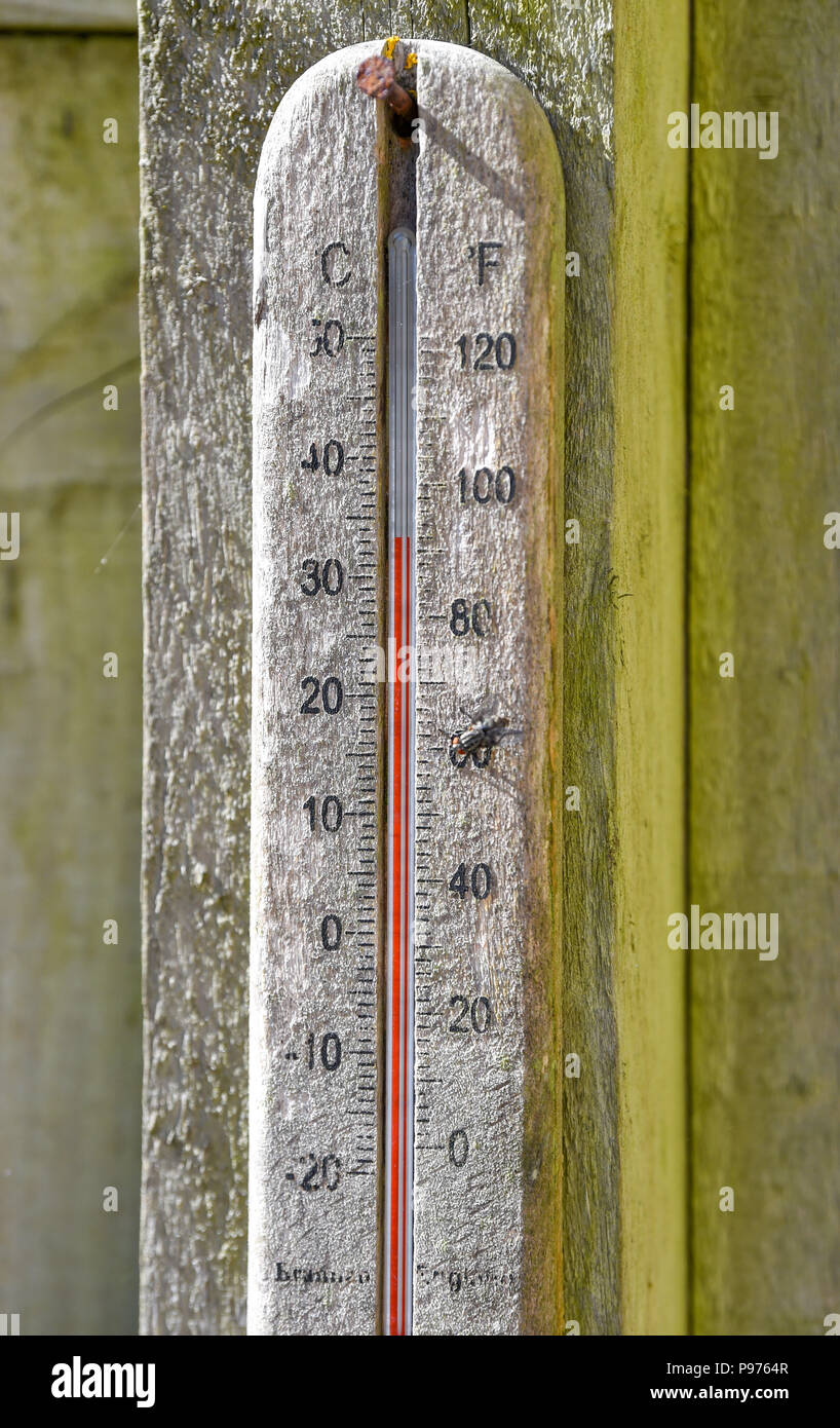 Brighton UK 15th July 2018 - A garden thermometer shows 34 degrees in a Brighton garden as the temperatures soar into the low 30s in some parts of the South East of Britain today Credit: Simon Dack/Alamy Live News - Stock Image