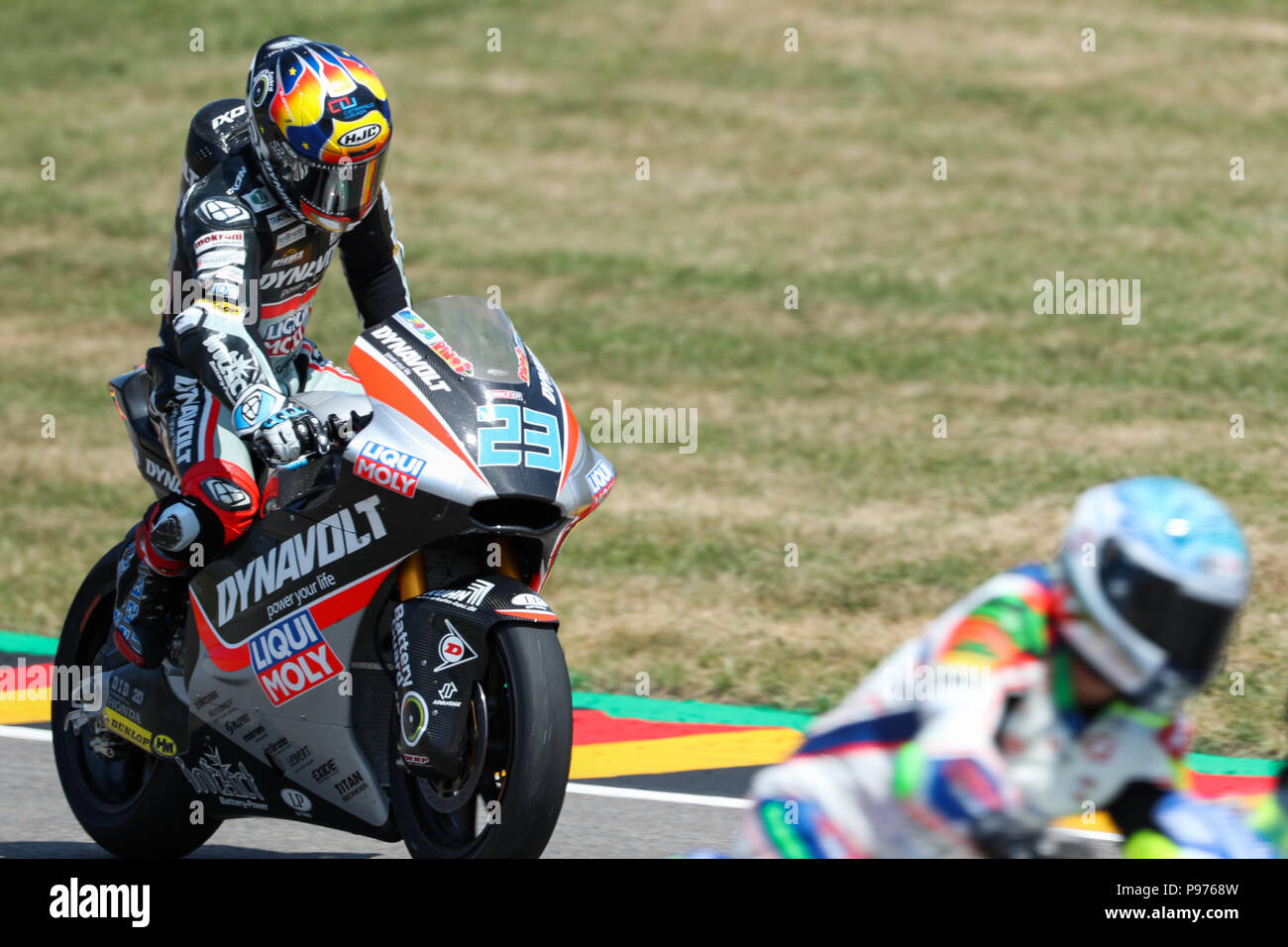 Hohenstein-Ernstthal, Germany. 15th July, 2018. German motorcycle Grand Prix, Moto2 at the Sachsenring: Marcel Schroetter (Germany, Dynavolt Intact GP). Credit: Jan Woitas/dpa-Zentralbild/dpa/Alamy Live News - Stock Image