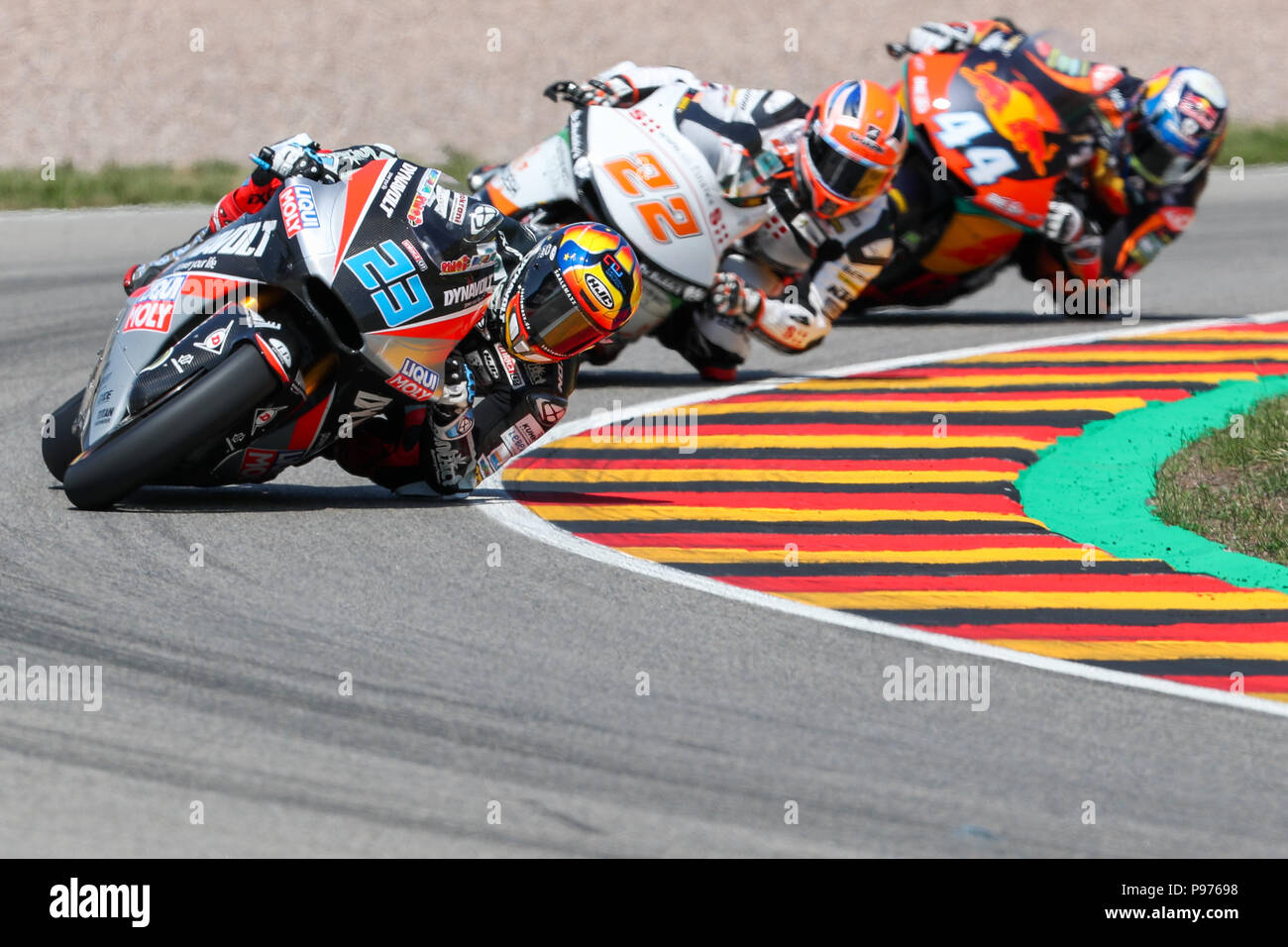 Hohenstein-Ernstthal, Germany. 15th July, 2018. German motorcycle Grand Prix, Moto2 at the Sachsenring: Marcel Schroetter (Germany, Dynavolt Intact GP) in action. Credit: Jan Woitas/dpa-Zentralbild/dpa/Alamy Live News - Stock Image