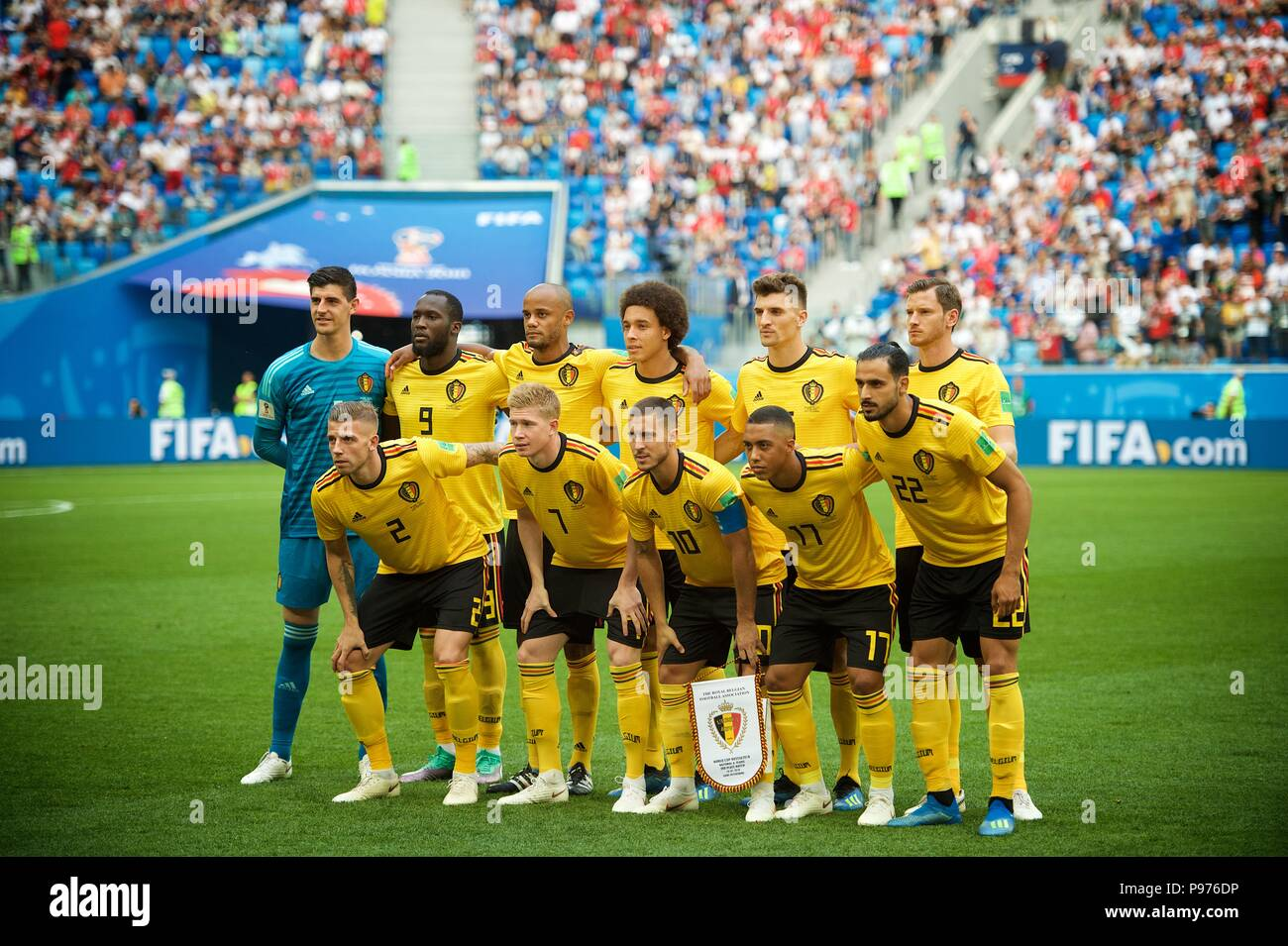 July 14th, 2018, St Petersburg, Russia. Belgium football team pose for team photo at 2018 FIFA World Cup Russia match between England and Belgium at Saint-Petersburg Stadium, Russia. Shoja Lak/Alamy Live News - Stock Image