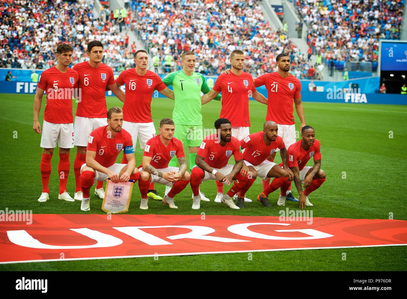 July 14th, 2018, St Petersburg, Russia. England football team pose for team photo at 2018 FIFA World Cup Russia match between England and Belgium at Saint-Petersburg Stadium, Russia. Shoja Lak/Alamy Live News - Stock Image