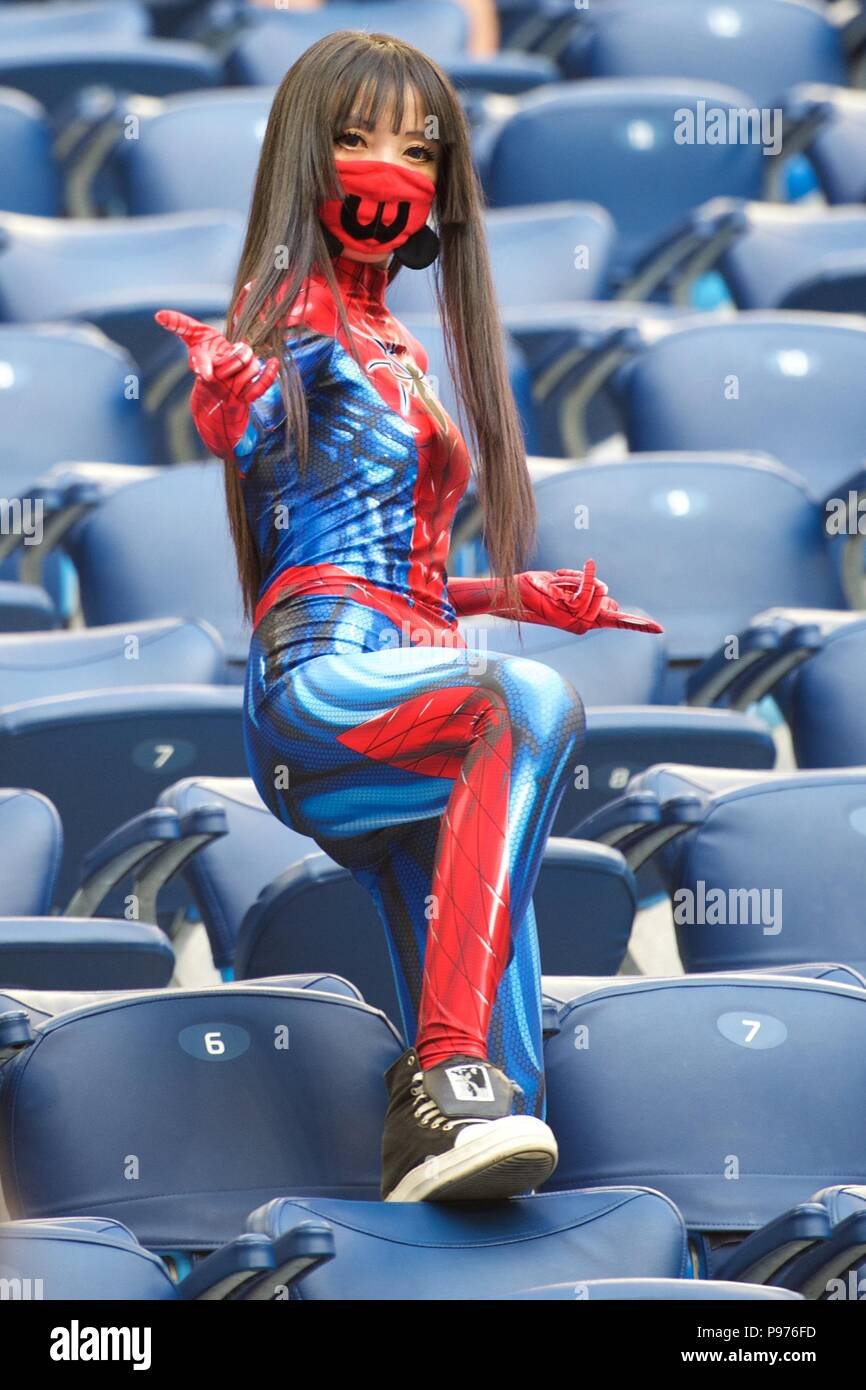 July 14th, 2018, St Petersburg, Russia. Football fan wearing Spiderman costume during 2018 FIFA World Cup Russia, match between England and Belgium at Saint-Petersburg Stadium, Russia. Shoja Lak/Alamy Live News - Stock Image