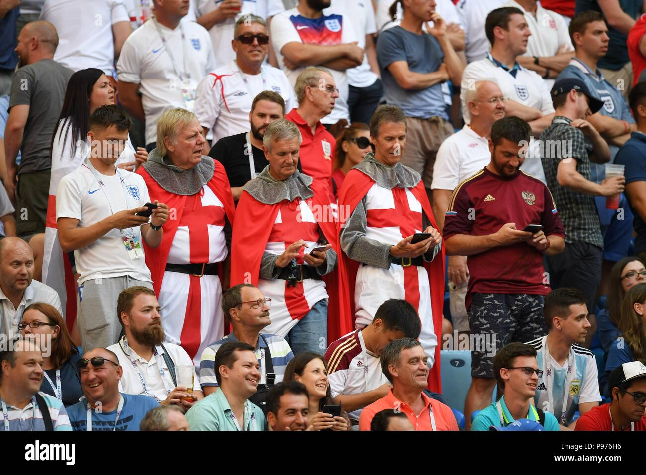 July 14th, 2018, St Petersburg, Russia. Football fans during 2018 FIFA World Cup Russia match between England and Belgium at Saint-Petersburg Stadium, Russia. Shoja Lak/Alamy Live News - Stock Image