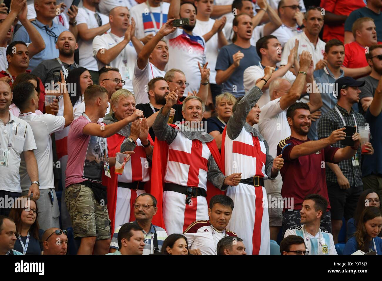 July 14th, 2018, St Petersburg, Russia. Football fans during 2018 FIFA World Cup Russia, match between England and Belgium at Saint-Petersburg Stadium, Russia. Shoja Lak/Alamy Live News - Stock Image
