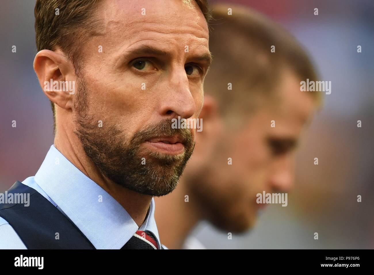 July 14th, 2018, St Petersburg, Russia. Gareth Southgate, England football team coach at 2018 FIFA World Cup Russia match between England and Belgium at Saint-Petersburg Stadium, Russia. Shoja Lak/Alamy Live News - Stock Image
