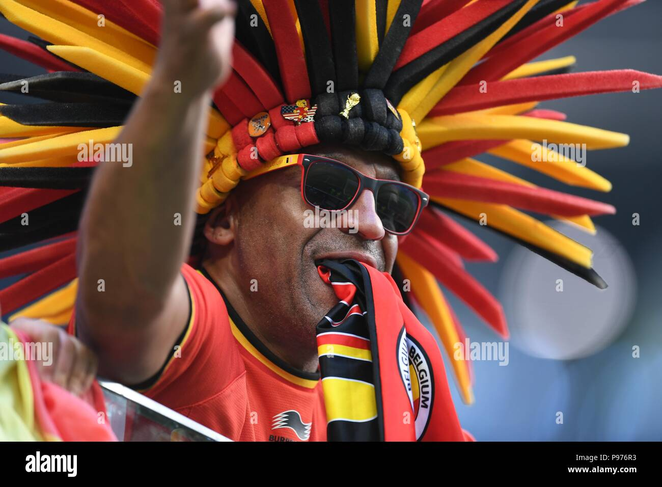 July 14th, 2018, St Petersburg, Russia. Football fans match between England and Belgium 2018 FIFA World Cup Russia 3rd Place Playoff at Saint-Petersburg Stadium, Russia. Shoja Lak/Alamy Live News - Stock Image