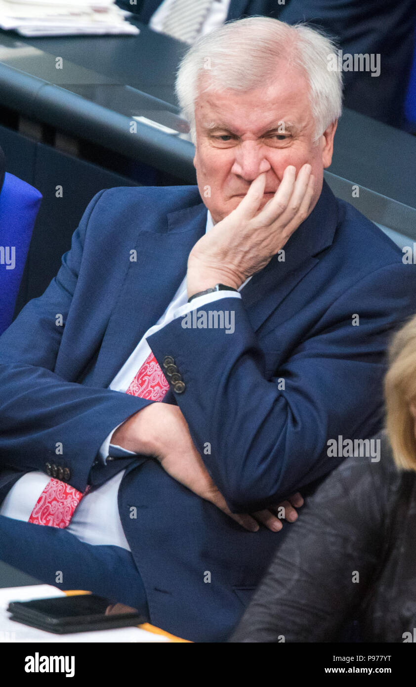Berlin, Germany. 15th June, 2018. Horst Seehofer (CSU), German interior minister, sitting in the German Bundestag during question time on the asylum dispute. Credit: Jens Büttner/dpa-Zentralbild/ZB/dpa/Alamy Live News - Stock Image