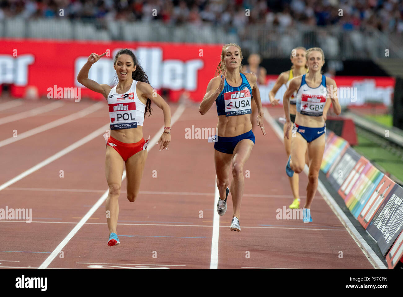 London, UK. 14th July 2018. Sofia Ennaoui (POL) wins the 1500m at the Athletics World Cup  at the London Stadium, London, Great Britiain, on 14 July 2018. Credit: Andrew Peat/Alamy Live News - Stock Image