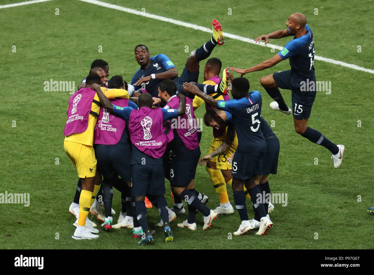 Paul Pogba celebrate Kylian Mbappe goal FRANCE V CROATIA FRANCE V
