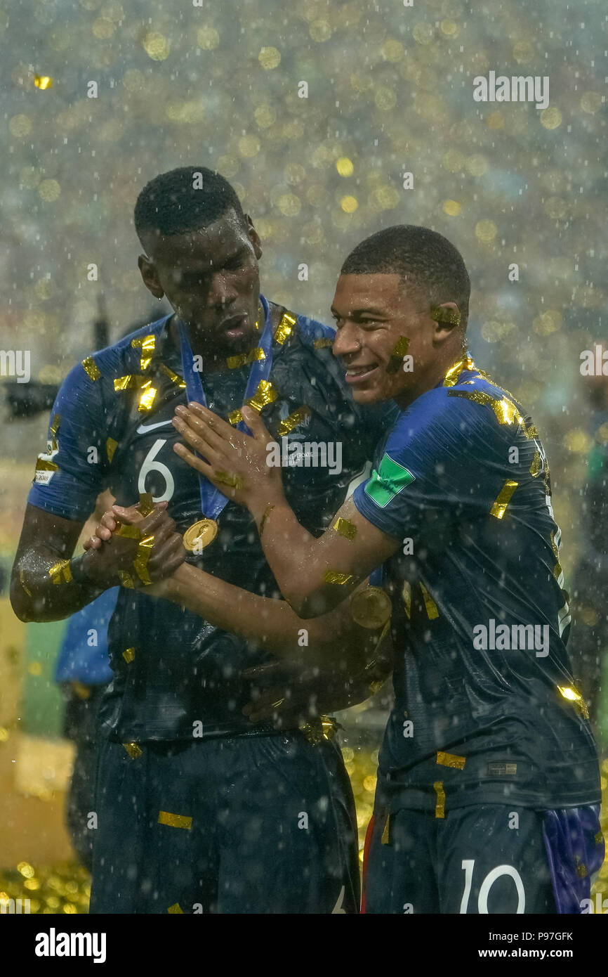 Moscow Russia 15th July 2018 Kylian Mbappe Of France And