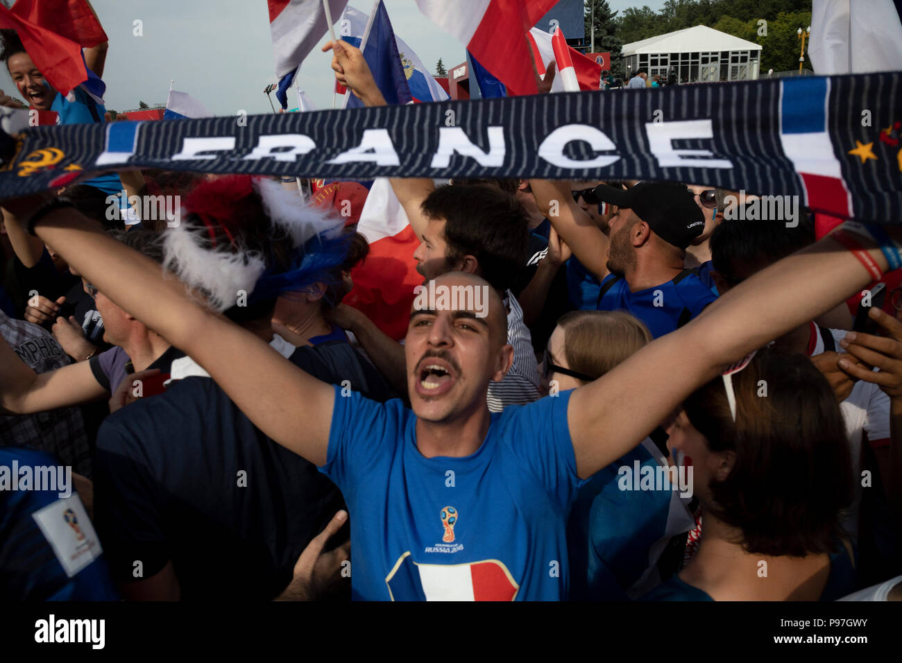 Moscow, Russia. 15th, July, 2018. French football fans support national team on Fan festival of Moscow during the World Cup 2018 FIFA, Final game, France vs. Croatia in Moscow's stadium luzhniki, Russia - Stock Image