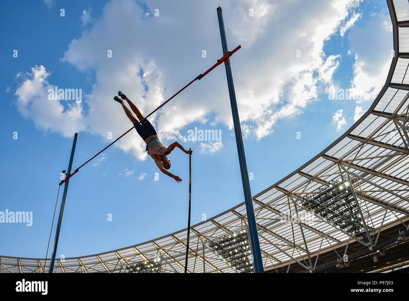 Charlie Myers (GBR) n Men's Pole Vault during Athletics World Cup London 2018 at London Stadium on Sunday, 15 July 2018. LONDON, ENGLAND. Credit: Taka G Wu - Stock Image