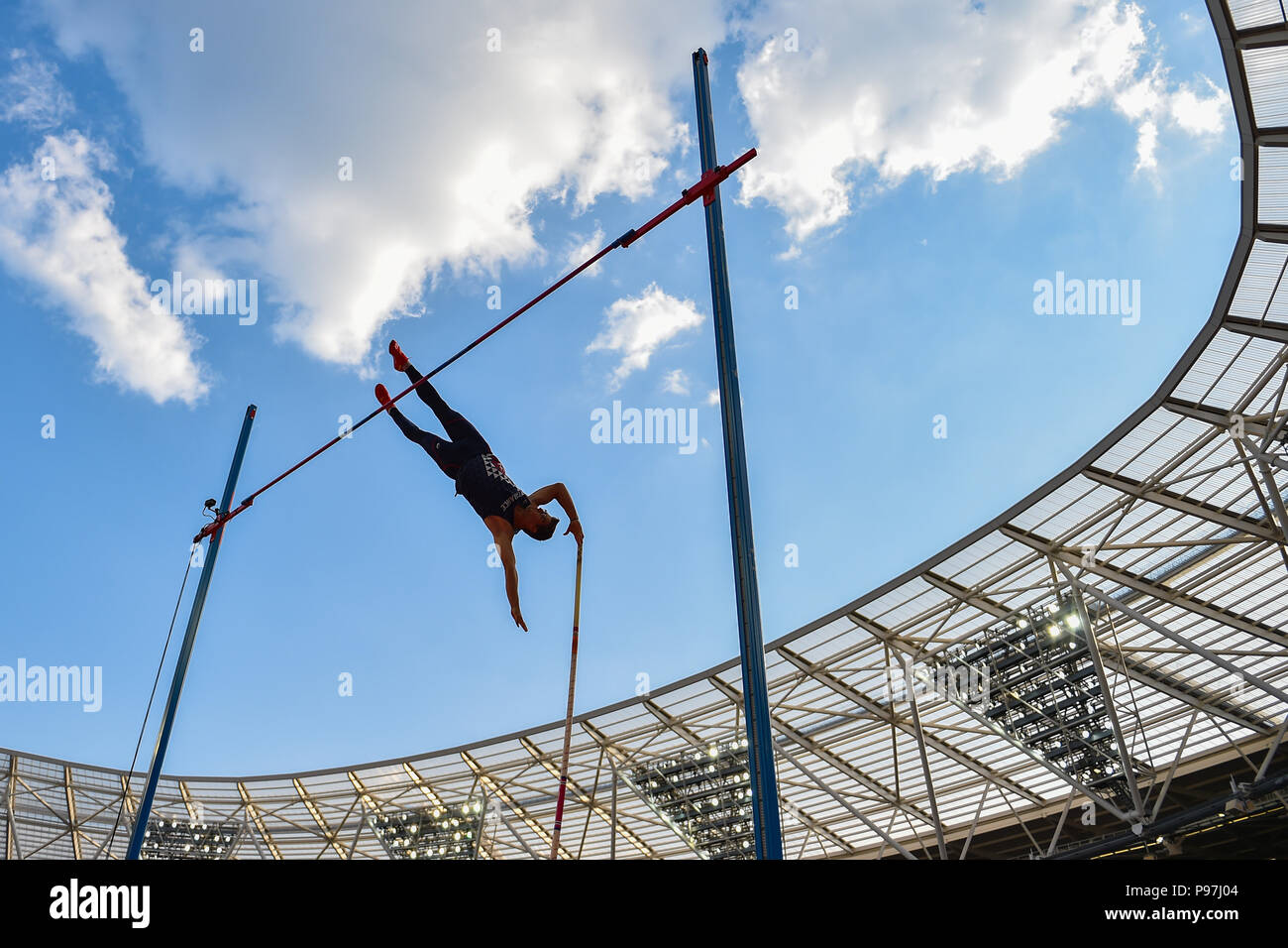 Axel Chapelle (FRA) in Men's Pole Vault during Athletics World Cup London 2018 at London Stadium on Sunday, 15 July 2018. LONDON, ENGLAND. Credit: Taka G Wu - Stock Image
