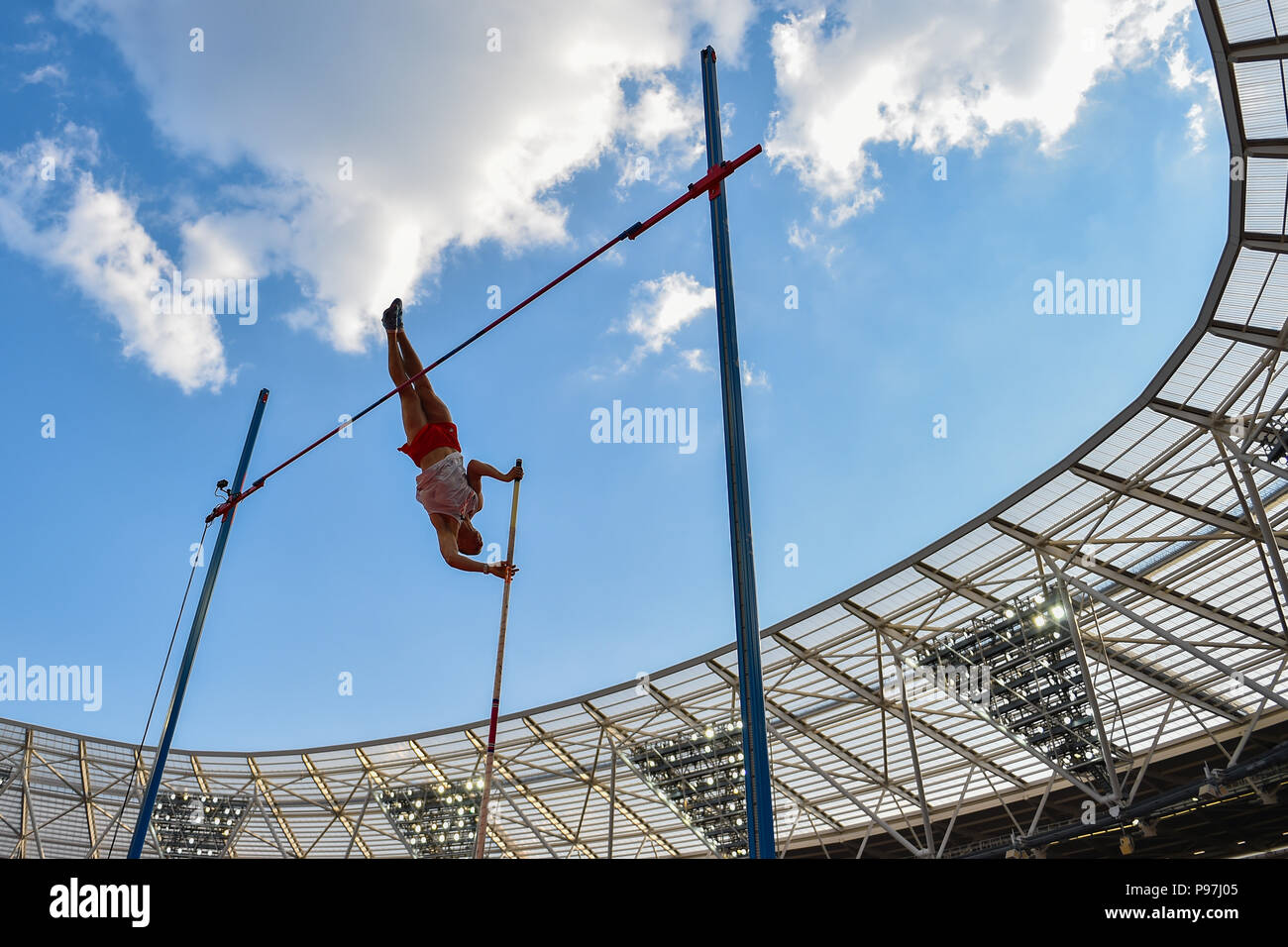 Piotr Lisek (POL) in Men's Pole Vault during Athletics World Cup London 2018 at London Stadium on Sunday, 15 July 2018. LONDON, ENGLAND. Credit: Taka G Wu - Stock Image
